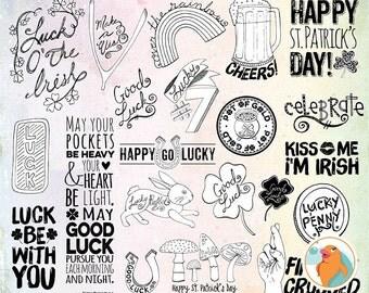 St Patrick's Word Art Digital Stamps + Photoshop Brush, Irish Blessing Scrapbook Titles, Woodland Mushrooms & Clover, Beer ClipArt