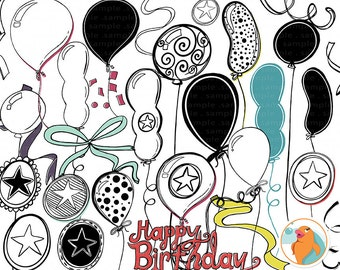 Birthday Balloons ClipArt, Birthday Party Line Art, Anniversary Celebration, Hand Drawn Doodle, PNG Graphics + Photoshop Brush