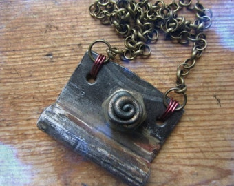 Repurposed Vintage Hardware Necklace, Industrial Jewelry, Steampunk Hardware Pendant, Recycled Metal Jewelry, Unique Punk Steampunk Necklace