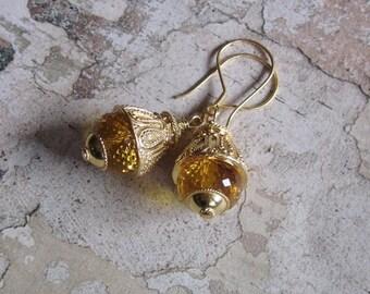 Sparktacular in Gold -- AA Citrine gemstones 24K Vermeil Earrings
