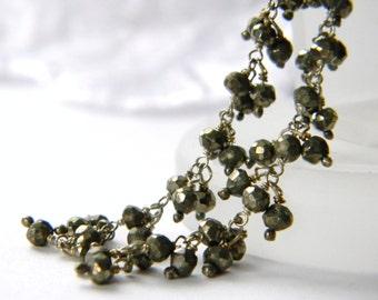 Long Pyrite Earrings. Dramatic Earrings. Draped earrings Sterling Silver Wire Wrapped. Gemstone statement earrings. Wedding. Formal jewelry