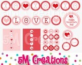 Valentine's Day Printable Party Package - Valentine Heart Birthday Party - Love XOXO Heart Printable Banner -INSTANT DOWNLOAD