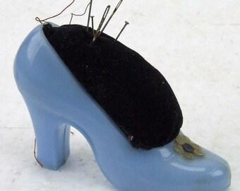 Vintage Kitsch Retro Blue Plastic Ladies Shoe Pincushion Pin Cushion ATCTTEAM
