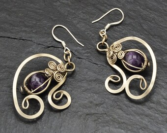 Boho Earrings, Amethyst Earrings, Silver Earrings, Wire Wrap Earrings, Purple Earrings, Dangle Earrings, Vintage Style, Bohemian Earrings