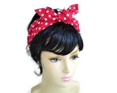 RESERVED 2 Red and White Polka Dot Head Scarf, 1940s Head Scarf, 1950s Head Scarf, 50s Pin Up Head Scarf, Red and White Dot Headwrap