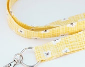 Magnolia Flowers on Yellow - Lanyard ID Badge Holder - Key Strap - Bluebird Park