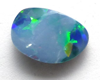 Australian Boulder Opal Cabochon Small Tiny Doublet Bright Cobalt Blue Black Jelly Fleshy Flashy Sparkle Pin Fire Perfect Stacking Ring Size