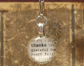 Thanks Dictionary Word Clip-on Charm Antique Vintage Look Gift by Kristin Victoria Designs