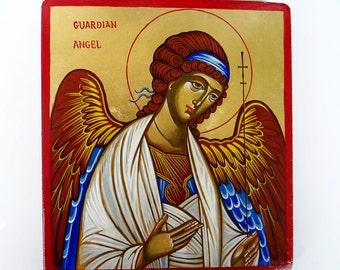 Guardian Angel, Baptism Gift, handpainted icon orthodox style, 6 x 8 inches