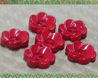 Red Flower Buttons - Set of 6 Vintage Buttons