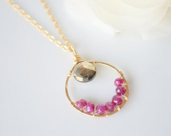 Gold Hoop, Pyrite, & Ruby Necklace
