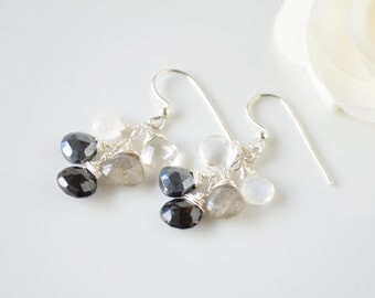 Black & White Gemstone Briolette Cluster Earrings - Sterling Silver