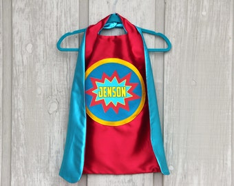 Boys Personalized SUPERHERO Cape - Full Name - POW Design - Includes full name in burst design - Custom Superhero Party - Fast Delivery