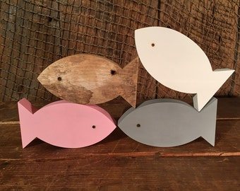 Set of 4 Wooden Fish