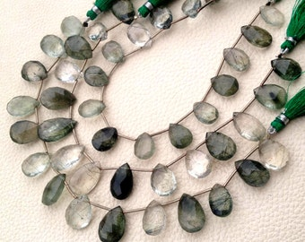 New arrival,Full 8 Inch Strand, GREEN RUTILATED QUARTZ Faceted Pear Shape Briolettes, 14-15mm Size,Great Quality at Low Price