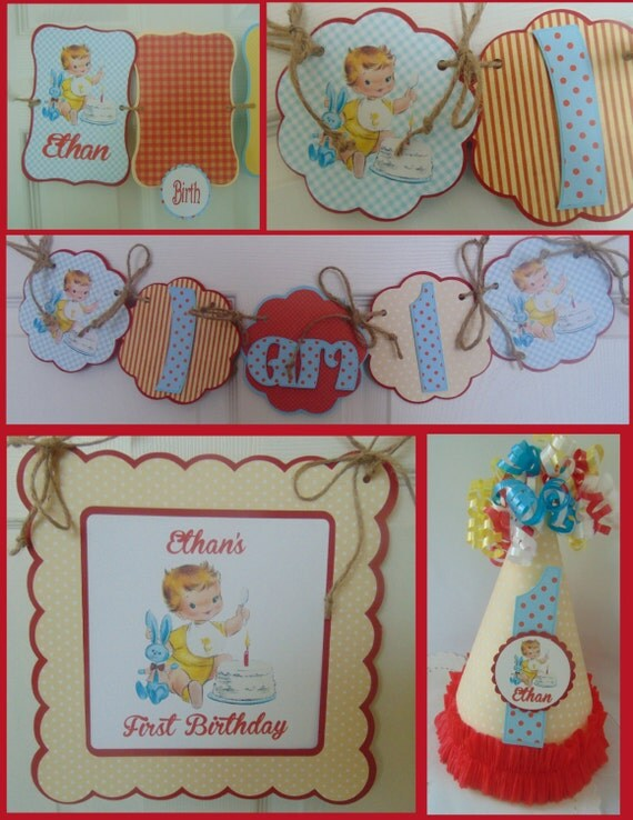 Vintage 1st birthday boy petite party package vintage for 1st birthday decoration packages