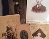 Antique Photographs Victorian Cabinet Cards / Halloween Mixed Media Supplies