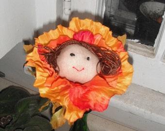 Whimsical Flower Face / Floral Decor /  Artificial Flower