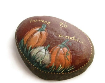 Fall Harvest Rock Original Stone Painting Rock Art Autumn Rustic Art  Pumpkin Grateful Garden Art Home Décor