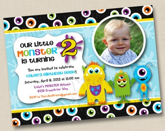 Our Little Monster Custom Photo Birthday Party Invitation Design- any age