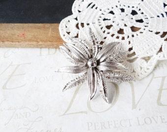 in BLOOM vintage brooch flower pin A13 | flower | bloom | wedding dress accent | sash | bouquet | silver