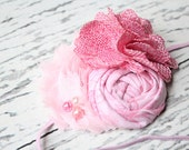 Pink you Very Much- Shades of pink rosette burlap and chiffon bloom headband