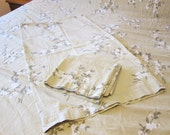 King Sheet Set, 1 Flat Sheet and 2 Pillowcases, Floral Pattern, Taupe, Beige