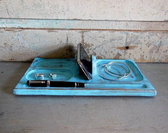 Turquoise Distressed Valet Wooden Upcycled