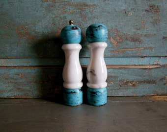Marble and Turquoise Painted Wood Salt Shaker and Pepper Grinder Mill Set