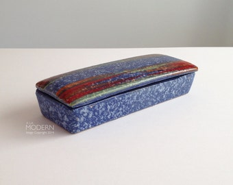 Vintage Modernist Italian Pottery Covered Box Mid Century Red Blue Design
