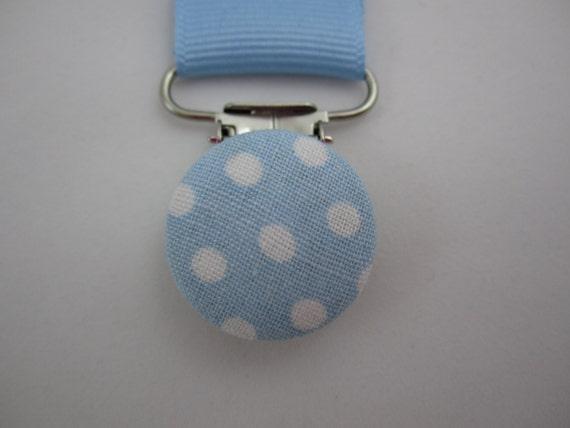 Baby Boy Pacifier Clip - Blue Polka Dots