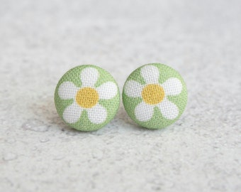 Spring Daisies Fabric Button Earrings