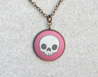 Cute Pink Skull, Fabric Button Pendant Necklace