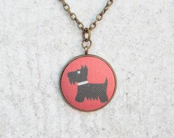 Scottie Dog, Fabric Button Pendant Necklace