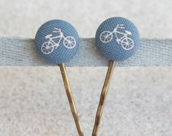 Tiny Bikes Fabric Covered Button Bobby Pin Pair
