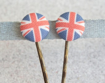 Union Jack- Fabric Covered Button Bobby Pin Pair