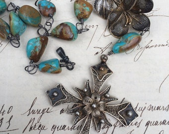 GARDEN of GOD - Antique Cannetille Cross and Vintage Flower Necklace with Turquoise Nuggets