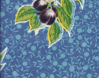 Summer Fruit Blue Oilcloth, Yardage