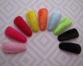 Velvet Rainbow . baby snap clip set . toddler hair accessory . pink red yellow orange blue green brown black