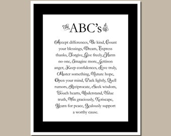 Quote Wall Art - The ABCs of Life - Teacher's Gift - Inspirational Quote - Print - #00001