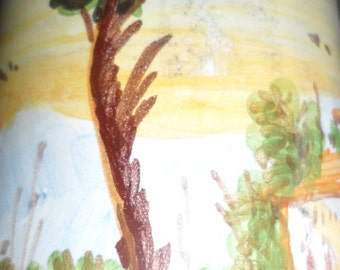 small signed pottery wall art piece trees  villa or house birds  unique crafted handpainted piece  signed lr castelli