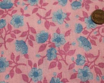 Vintage Bubblegum Pink And Blue Fabric Concord Material -Pretty 1970