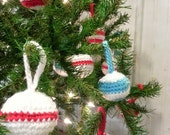 Unbreakable Crochet Ornaments - Red and White - Set of 6