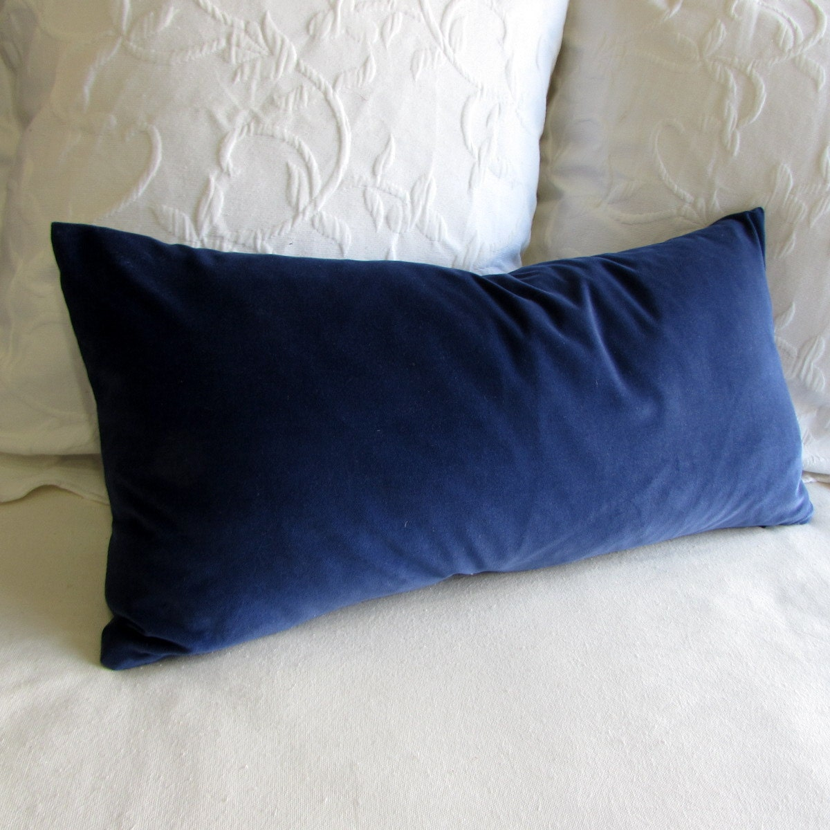 Navy Velvet Lumbar Rectangular Bolster Pillow 13x26