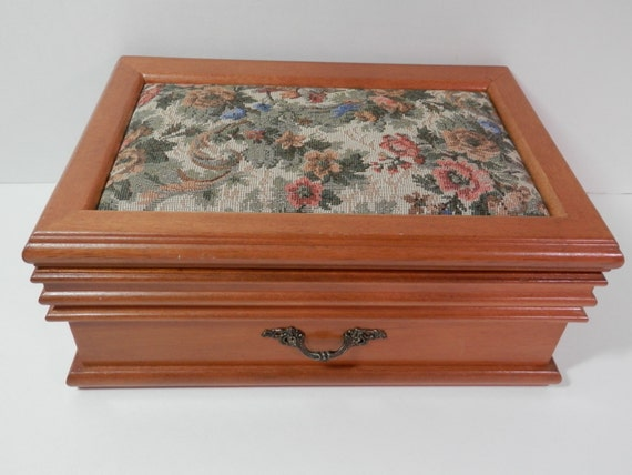 8 x 11 x 4 solid cherry wood jewelry box victorian floral for Solid wood jewelry chest