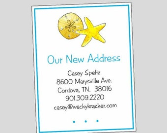 Beach Tropical Moving Cards // Change of Address Announcement // Starfish New Home Card