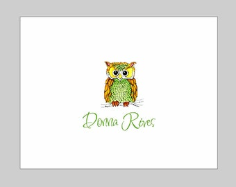 Personalized Owl Folded Thank You Note Cards ~ Owl Stationery