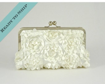Couture Satin Blossom Clutch in Ivory - READY TO SHIP