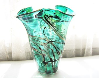 Vintage Art Glass Vase Handkerchief Style Artist Signed Hand Blown from AllieEtCie