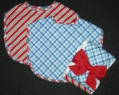 Quality Infant Velcro Red, White and Blue Print Bibs with Coordinating Burp Cloths  / 2  Bibs/2 Burp Cloths Set